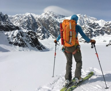 """Enjoying stellar views and calm conditions on the Ruth Glacierâ€""""Denali's summit is best appreciated from afar on this day."""